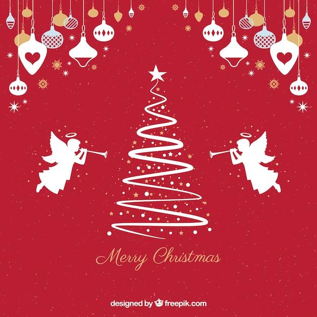 Roter hintergrund mit silhouetten von einem weihnachtsbaum und engeln Kostenlosen Vektoren