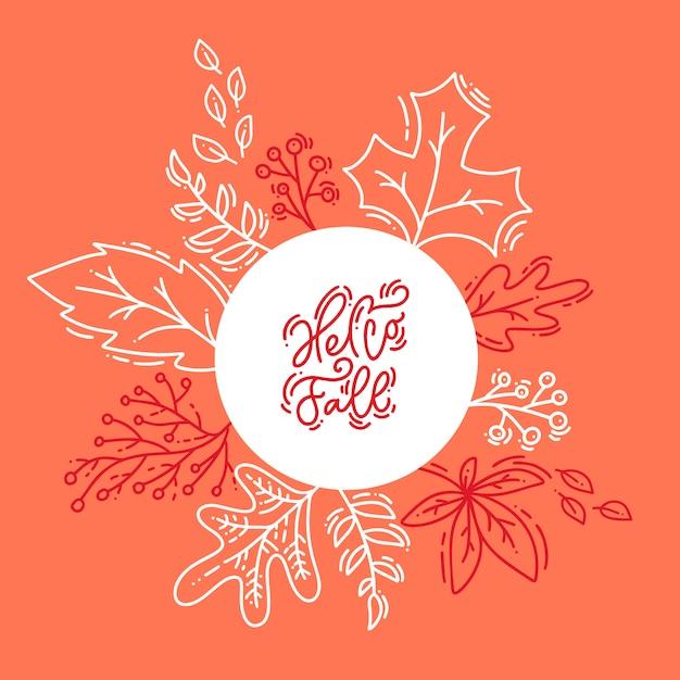 Roter kalligraphiebeschriftungstext hallo fall auf weißen und orange hintergrund Premium Vektoren