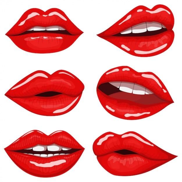 Roter lippenkarikatursatz lokalisiert auf weiß Premium Vektoren