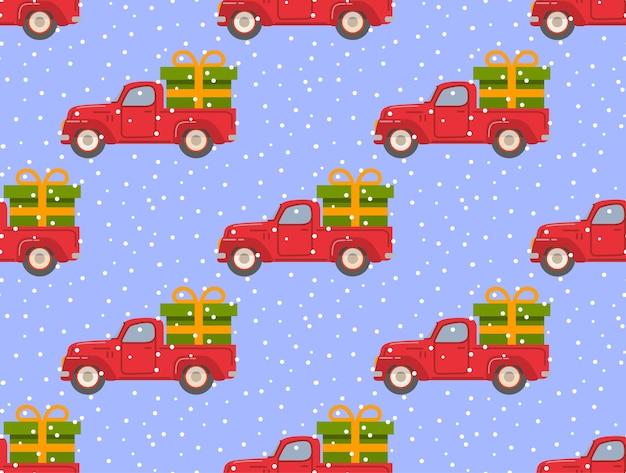 Roter lkw der retro-abholung mit grünem geschenkkasten nahtloses muster des fallenden schneeweihnachts Premium Vektoren