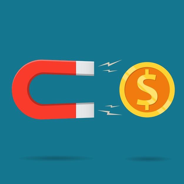 Roter magnet der flachen art zeichnet einen profit, geld. Premium Vektoren