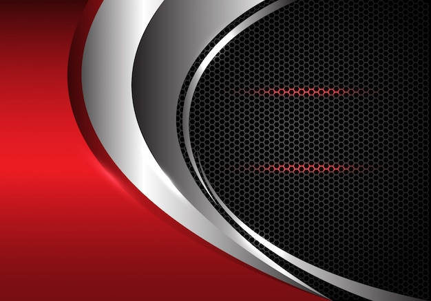 Roter metallischer dunkelgrauer hexagon-maschenhintergrund der silbernen kurve. Premium Vektoren