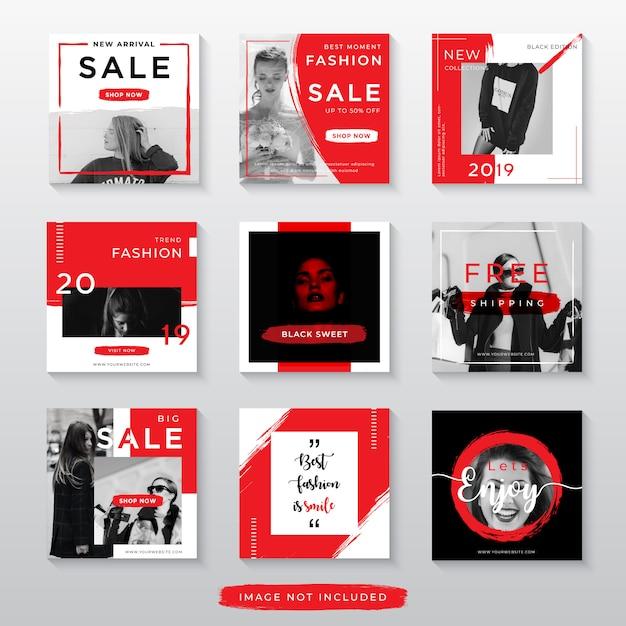 Roter modeverkauf für social media-beitragsschablone Premium Vektoren