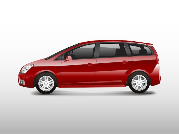 Roter mpv-minivan-automobilvektor Kostenlosen Vektoren