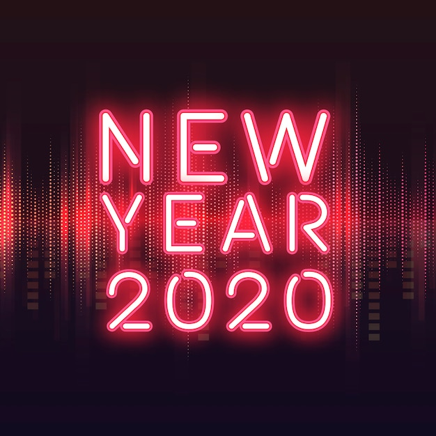 Roter neonzeichenvektor des neuen jahres 2020 Kostenlosen Vektoren
