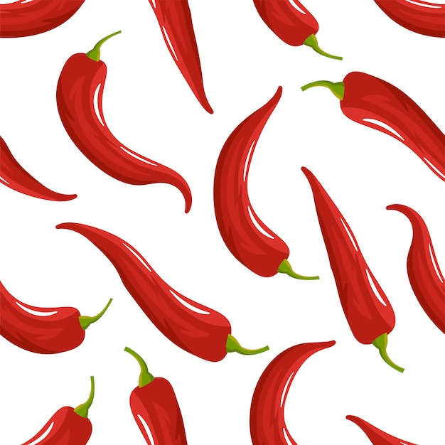Roter paprika-pfeffer-nahtloses muster Premium Vektoren