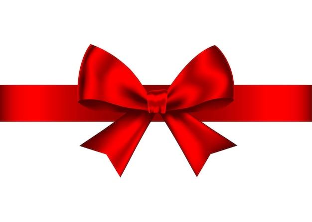 Roter realistischer geschenkbogen mit horizontalem band lokalisiert auf weißem hintergrund. Premium Vektoren