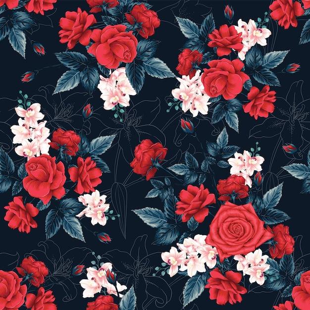Roter rosenblumen abstrakter hintergrund des nahtlosen musters. Premium Vektoren