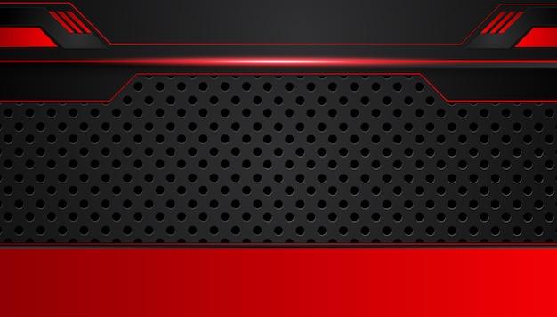 Roter schwarzer abstrakter metallischer rahmenplan-designtechnologie-innovationshintergrund. Premium Vektoren