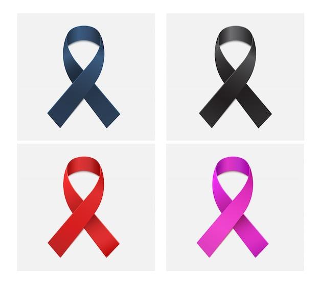 Roter, schwarzer, blauer, rosa farbbandvektor Premium Vektoren