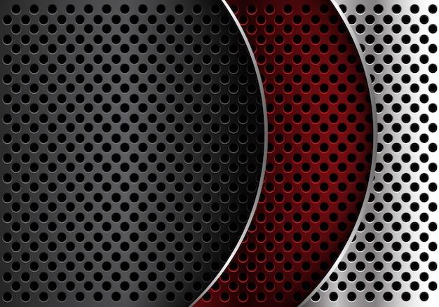 Roter silberner grauer metallkreis-maschenkurven-überlappungshintergrund. Premium Vektoren