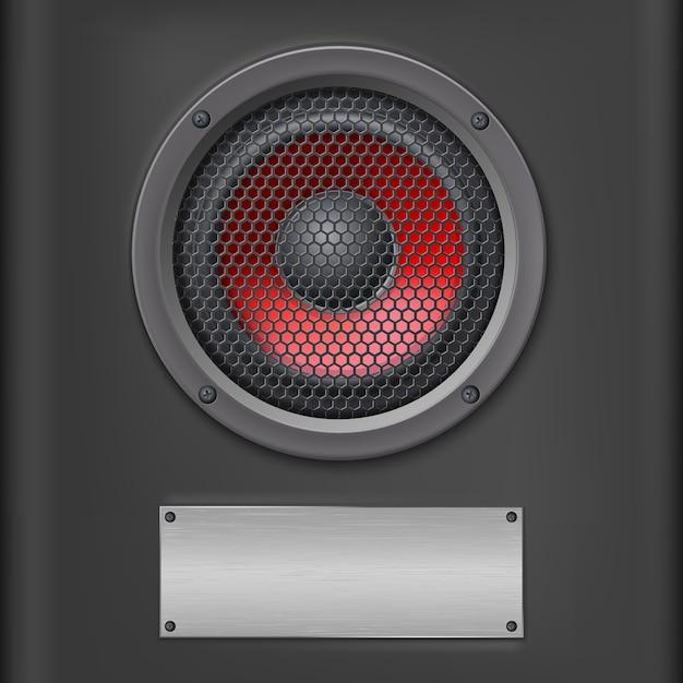 Roter soundlautsprecher mit metallplatte. Premium Vektoren