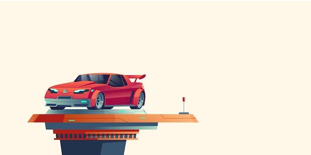 Roter sportwagen auf futuristischer ausziehbarer plattform Kostenlosen Vektoren