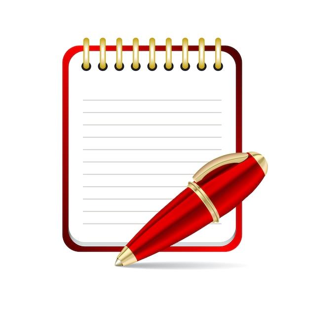 Roter stift und notizblock-symbol. illustration Premium Vektoren