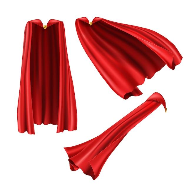 Roter superheldenumhang, umhang mit goldener nadel Kostenlosen Vektoren