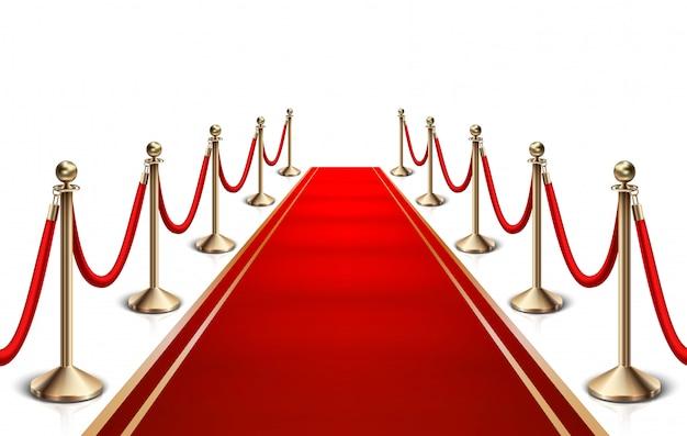 Roter teppich und goldene barriere. Premium Vektoren