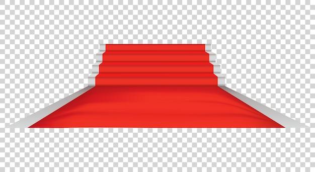 Roter teppich und promi-zeremonie, veranstaltungsplattform. exklusive veranstaltung. filmpremiere, gala, zeremonie oder preiskonzept. Premium Vektoren