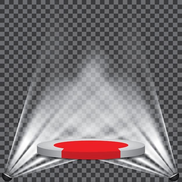 Roter teppich zum podium mit scheinwerfer Premium Vektoren