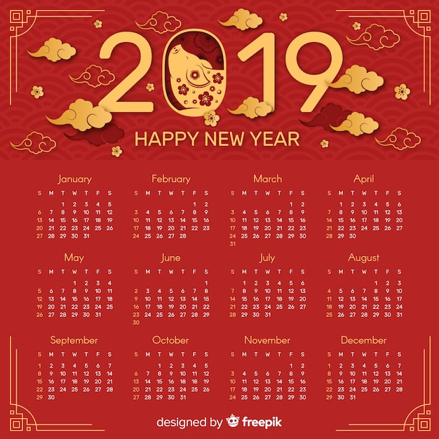 Roter und goldener chinesischer Kalender des neuen Jahres 2019 ...