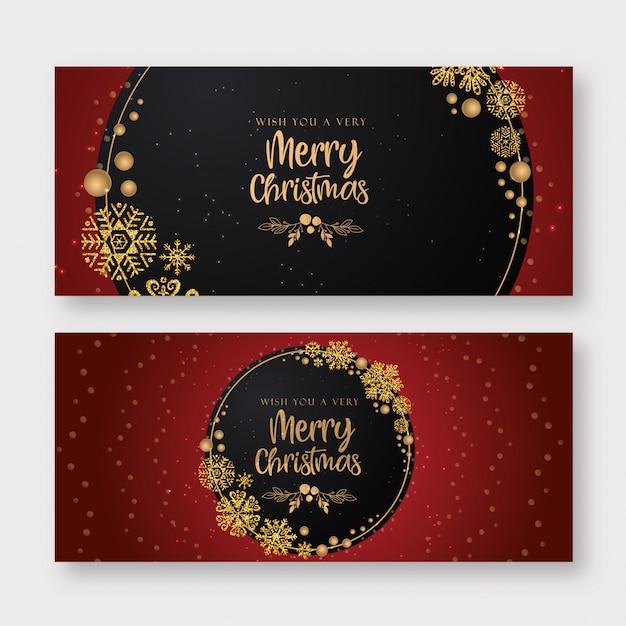 Roter und goldener frohe weihnacht-fahnen-hintergrund Premium Vektoren