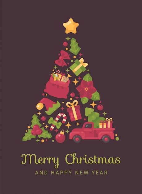 Roter und grüner weihnachtsbaum gemacht von weihnachten Premium Vektoren