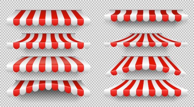 Roter und weißer sonnenschirm Premium Vektoren
