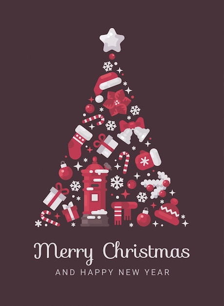 Roter und weißer weihnachtsbaum gemacht von weihnachten Premium Vektoren