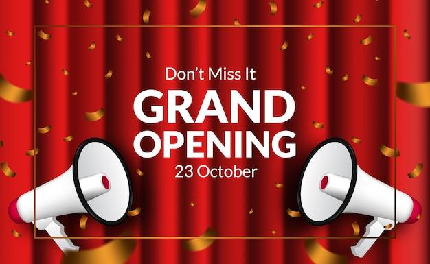 Roter vorhang und goldene konfetti-luxuseinladung der eröffnungskarte mit megaphon. poster banner vorlage Premium Vektoren