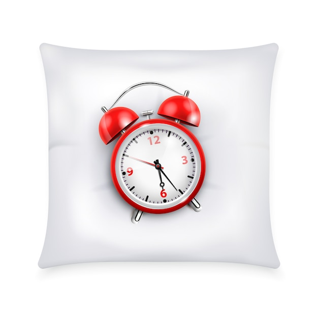 Roter wecker mit zwei glocken im retro-stil auf realistischer designkonzeptillustration des weißen kissens Kostenlosen Vektoren