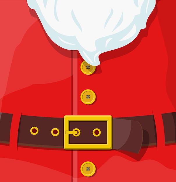 Roter weihnachtsmann-anzug. ledergürtel mit goldener schnalle, weißer bart mit knöpfen. frohes neues jahr dekoration. frohe weihnachten. neujahrs- und weihnachtsfeier. Premium Vektoren