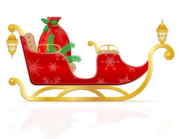 Roter weihnachtspferdeschlitten von weihnachtsmann mit geschenken vector illustration Premium Vektoren
