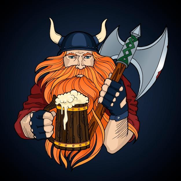 Roter wikinger mit axt und einer tasse bier Premium Vektoren