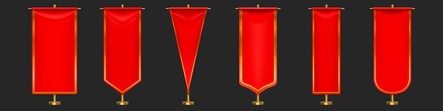 Roter wimpel kennzeichnet verschiedene formen auf goldsäule Kostenlosen Vektoren