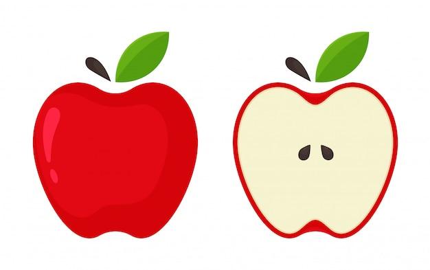 Rotes apple-symbol. vector rote äpfel, die zur hälfte vom weißen hintergrund aufgespaltet werden. Premium Vektoren