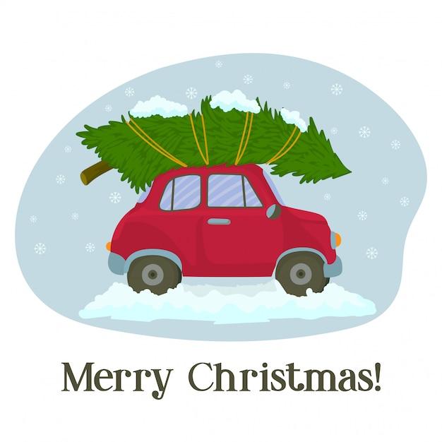 Rotes auto mit weihnachtsbaum in der wintergrußkarte Premium Vektoren