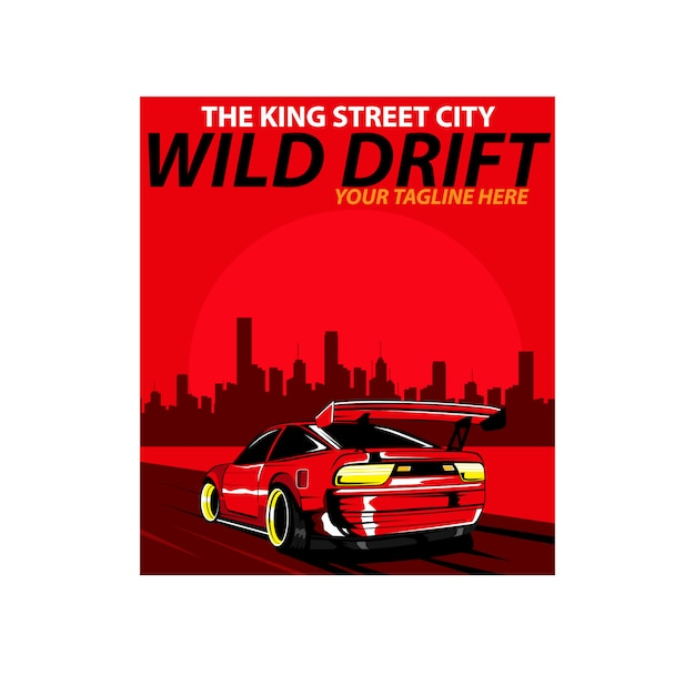 Rotes auto und rauch Premium Vektoren