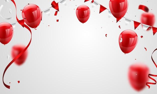 Rotes ballonkonfetti-konzeptdesign Premium Vektoren