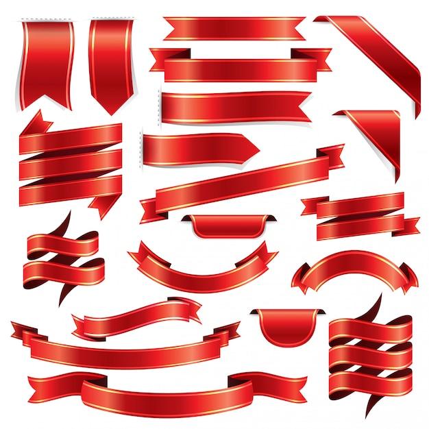 Rotes band dekorationsmuster gesetzt Premium Vektoren