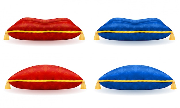 Rotes blaues satinkissen mit goldseil und quasten vector illustration Premium Vektoren