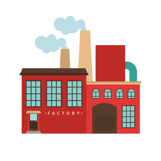 Rotes fabrikgebäude lokalisiert. vektor-illustration Premium Vektoren