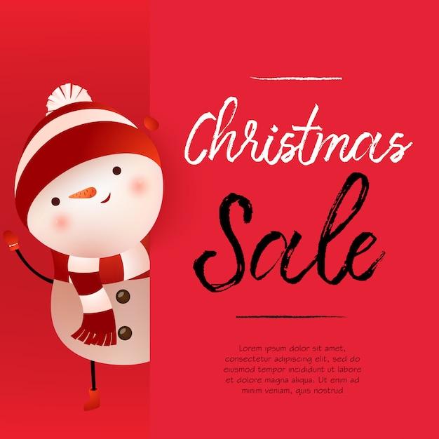 Rotes fahnendesign des weihnachtsverkaufs mit nettem schneemann und beispieltext Kostenlosen Vektoren