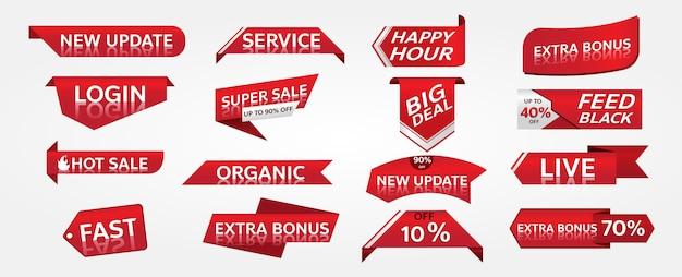 Rotes fahnenförderungs-etikettendesign für marketing Premium Vektoren