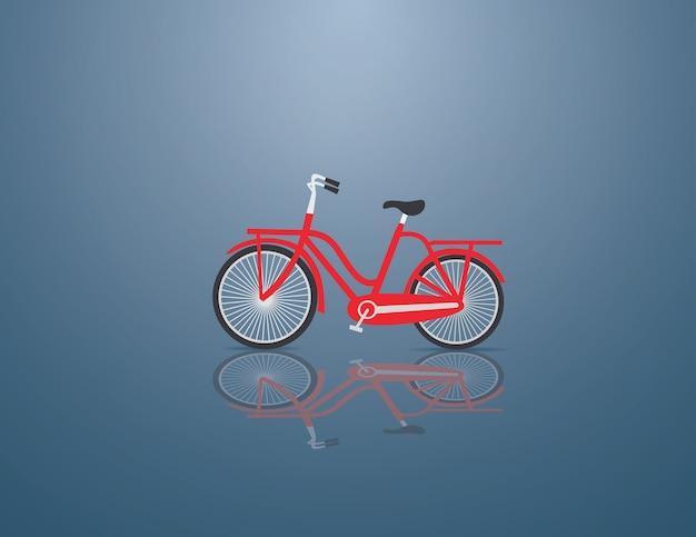 Rotes fahrrad auf dem blauen hintergrund Premium Vektoren