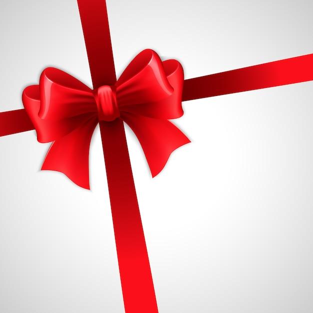 Rotes feiertagsband mit bogen Premium Vektoren