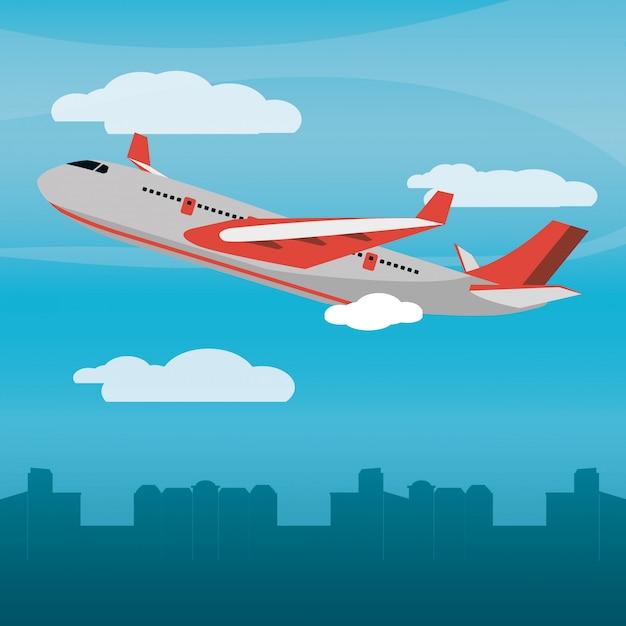 Rotes flugzeug tageslicht Premium Vektoren