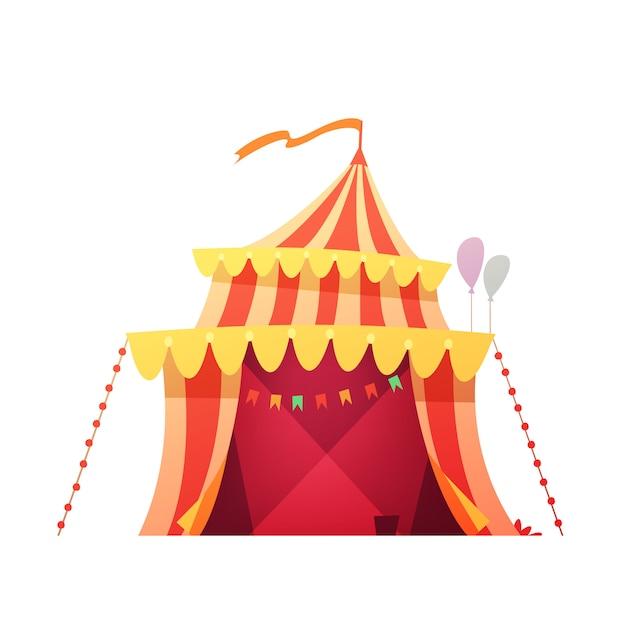 Rotes gelbes zelt des reisenden chapiteau-zirkusses im bereiten der feindshow des vergnügungsparks karikaturikonen-illustrationsvektor Kostenlosen Vektoren