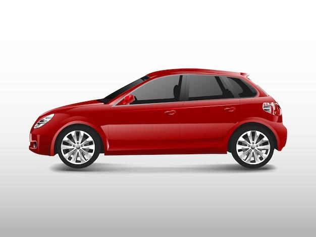 Rotes hatchbackauto lokalisiert auf weißem vektor Kostenlosen Vektoren