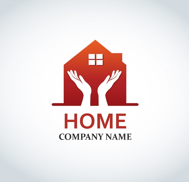 Rotes haus logo design für immobilien Premium Vektoren