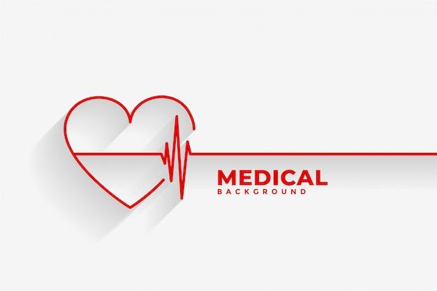 Rotes herz mit medizinischem hintergrund der herzschlaglinie Kostenlosen Vektoren