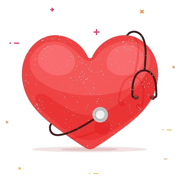 Rotes herz mit stethoskop für gesundheit und medizin konzept. Kostenlosen Vektoren